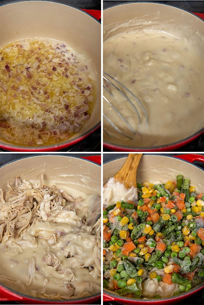 a collage of 4 images showing how to make chicken pot pie filling from scratch