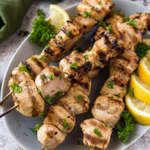 A plate of Chicken Kabobs.