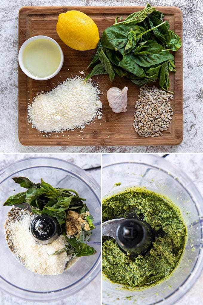 a collage of three photos showing the steps for making nut free pesto