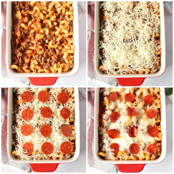 collage of steps to make pizza casserole