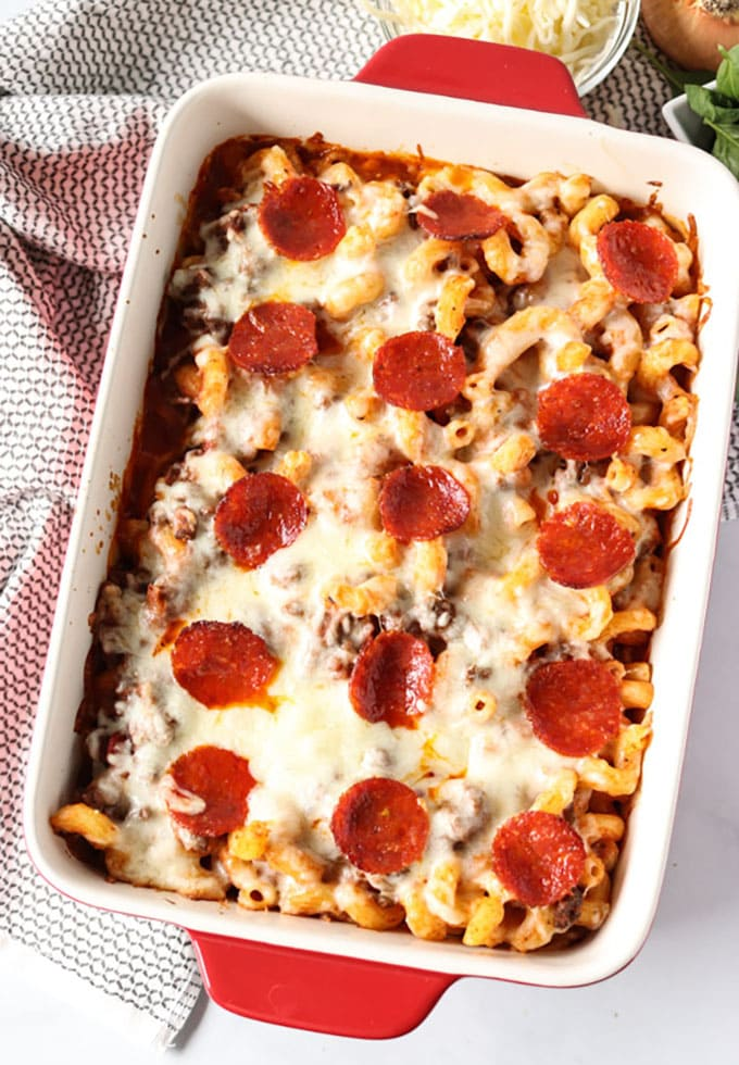 overhead shot of pizza casserole with pepperoni