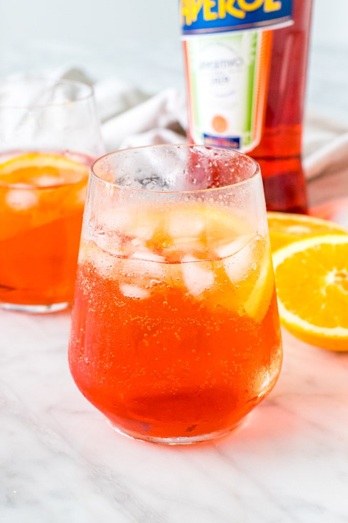 Aperol spritz cocktails made with prosecco, Aperol and soda water.