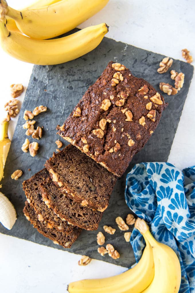 an overhead image of a loaf of banana bread with walnuts scattered around. Bananas are on each side.