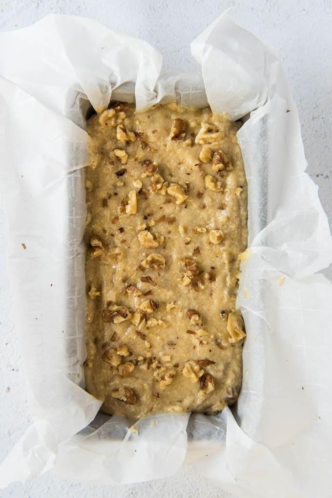 banana bread batter in a bread pan