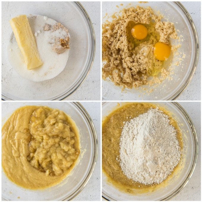 steps to make banana nut bread in a bowl
