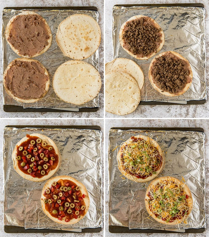 A collage of 4 images showing the steps for layering Mexican pizzas