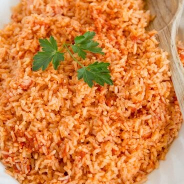 A close up of Mexican Rice.