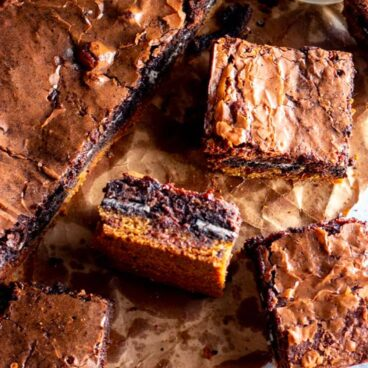 Pieces of oreo-stuffed brownies.