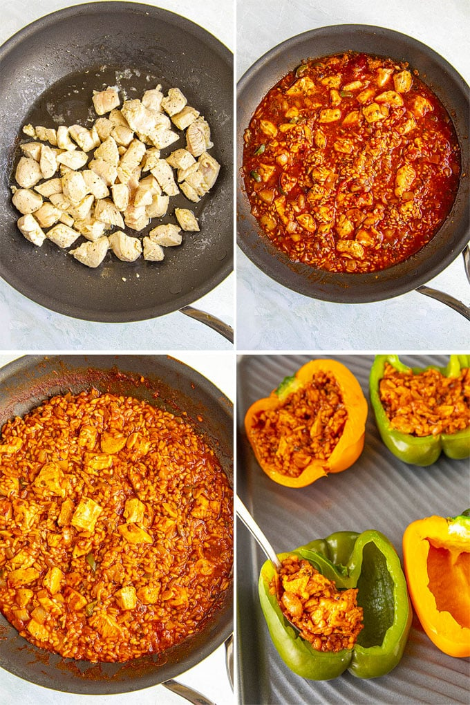 a collage of 4 images showing how to make the filling for stuffed peppers