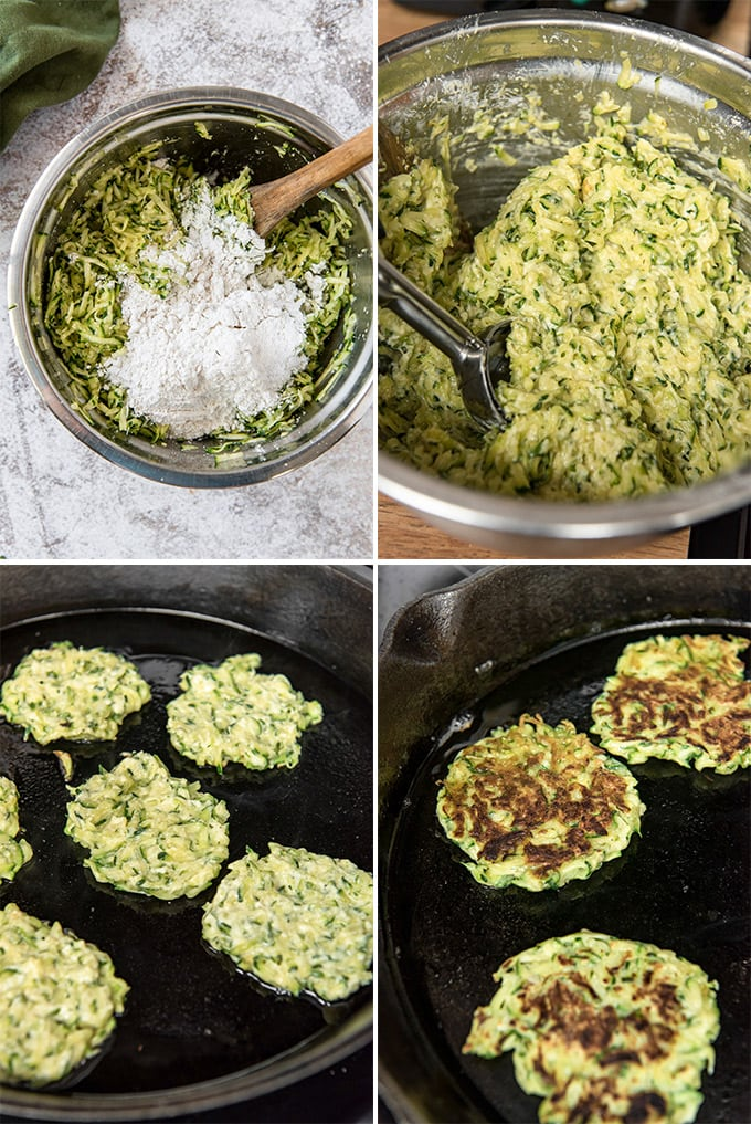 A collage of 4 images showing how to make zucchini fritters