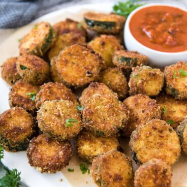 A plate of fried breaded zucchini