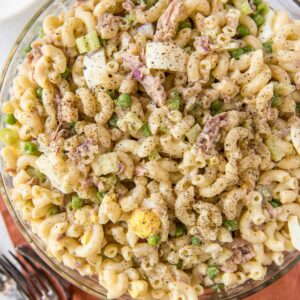 A dish is filled with Tuna Macaroni Salad