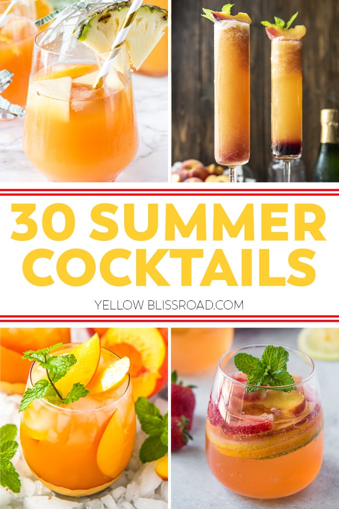 Collage of 4 Summer cocktails, created for pinterest