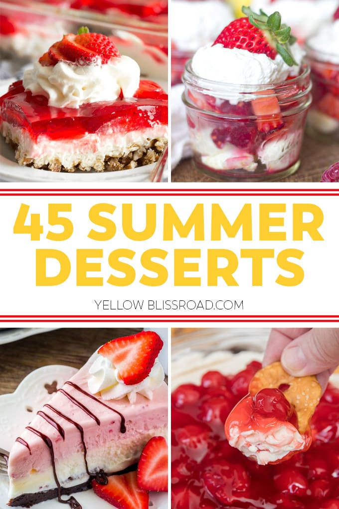 4 image collage of summer desserts in red and white colors