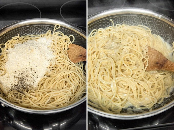 A pot filled with pasta and parmesan cheese.