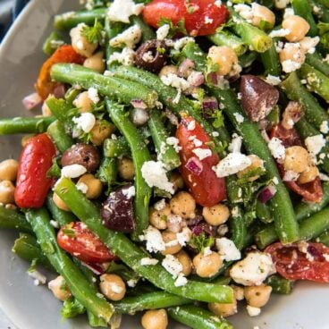Green beans with feta, tomatoes, olives, and chickpeas