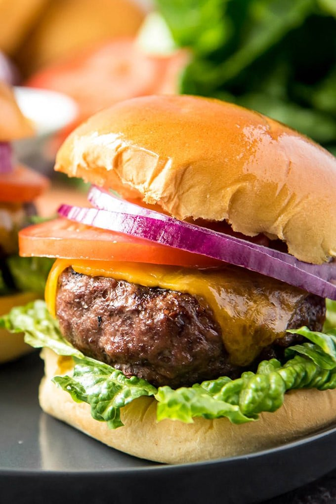 A close up of a hamburgers on a hamburger bun, with lettuce, tomato and red onion