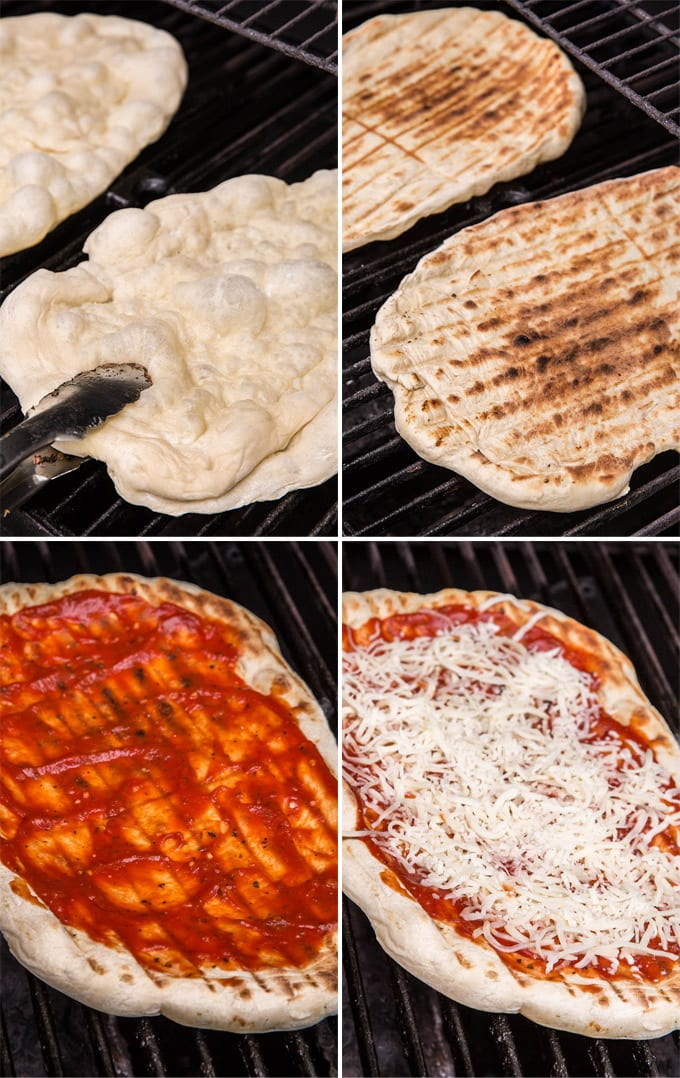 a collage of 4 images showing pizza dough on the grill, plain, then topped with pizza sauce and cheese.