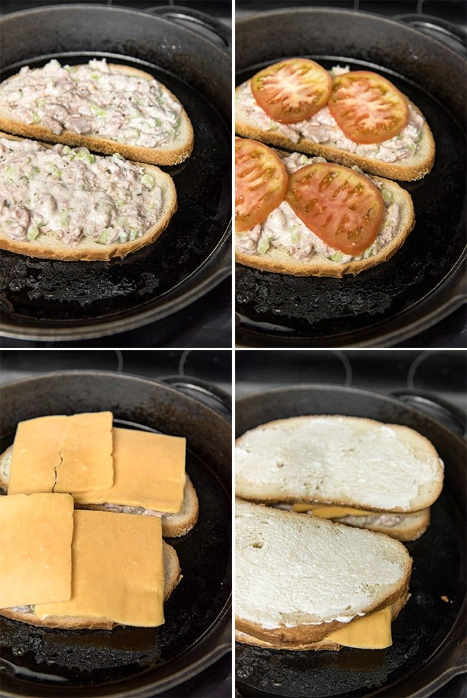 a collage of 4 images showing the steps for making a grilled tuna melt sandwich in a cast iron skillet