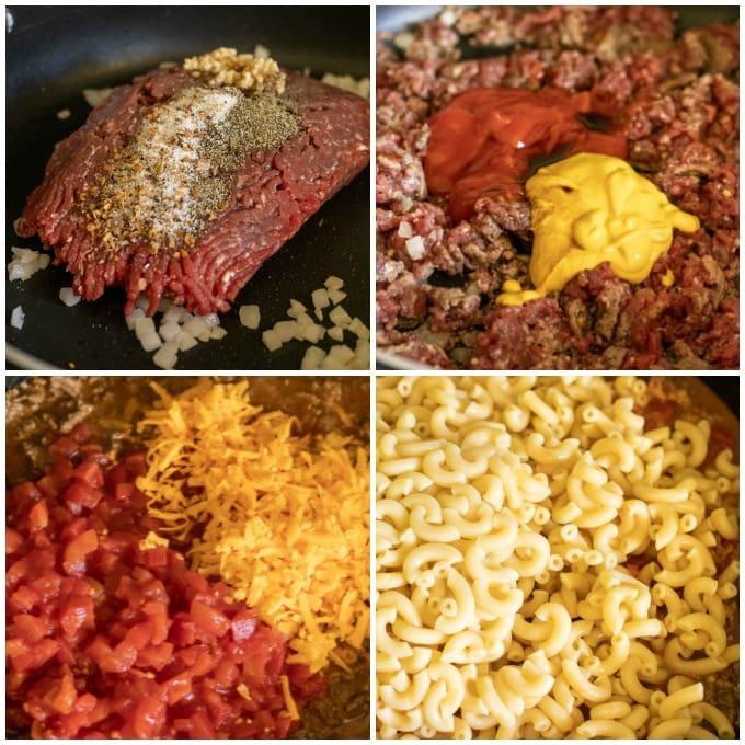 process shots of making cheeseburger casserole