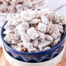 square image of muddy buddies in a bowl