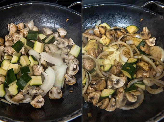 2 images of vegetables in a skillet