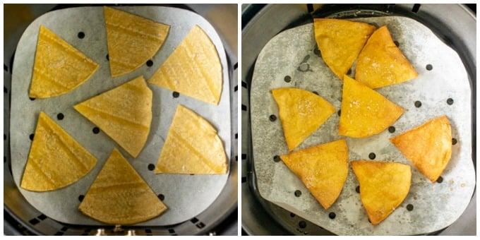 tortilla chips in air fryer basket