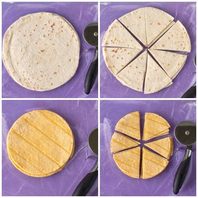 sliced tortillas to make air fryer tortilla chips