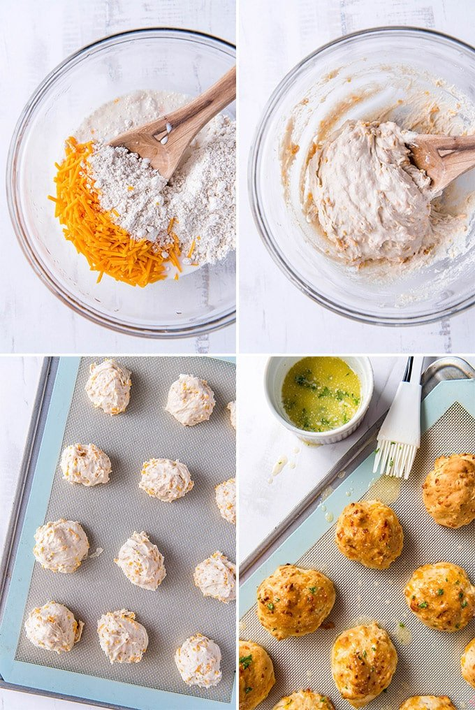 4 images in a collage showing the steps for making garlic cheese biscuits