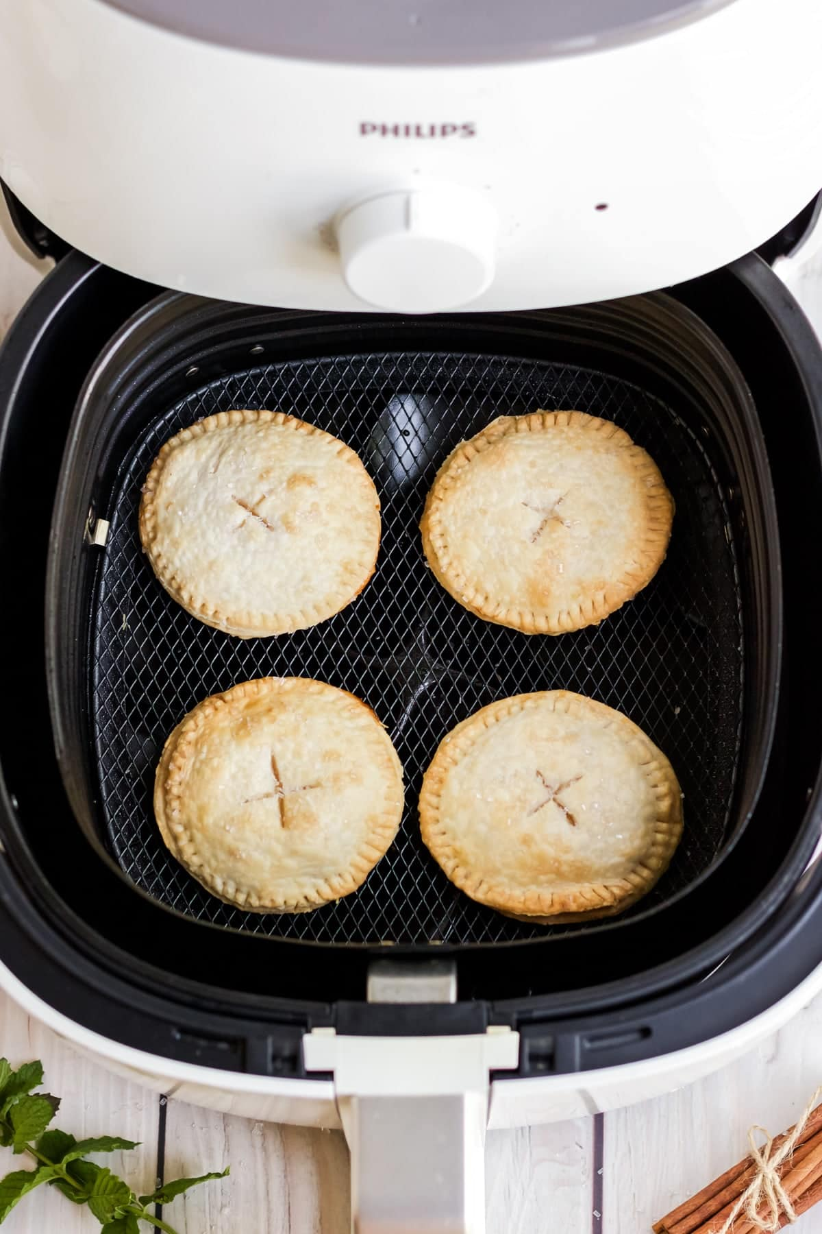Apple Hand Pies being cooked in the air fryer