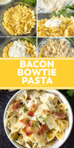 pin for pinterest with bowtie pasta and text