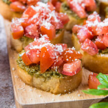 square image of pest bruschetta