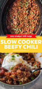 two images of beef chili pin with text