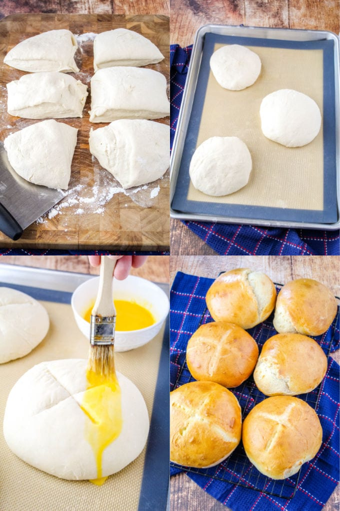 bread bowl dough on a floured board cut into 6 pieces. 3 pieces of dough on a baking sheet with a silicone mat, egg wash being burshed over doguh with an X cut in the top, bread for bread bowls after baking