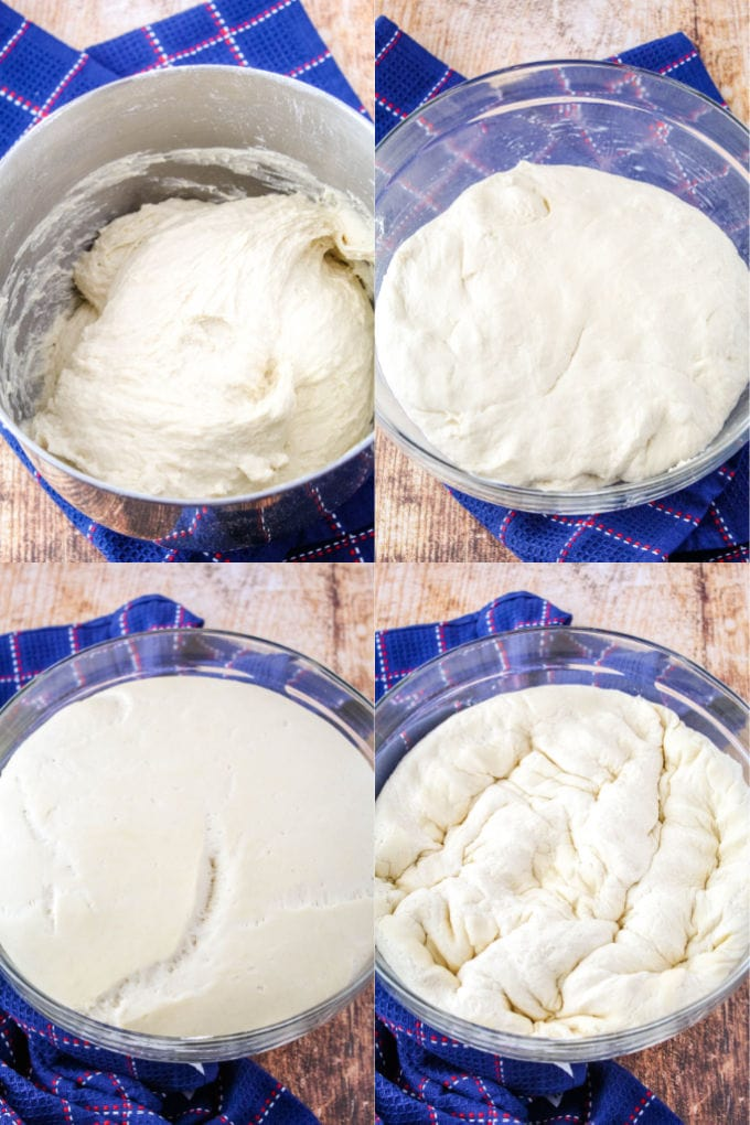 bread bowl dough after mixing in a stand mixer, dough in a greased bowl, dough after rising in a large bowl, dough after being punched down