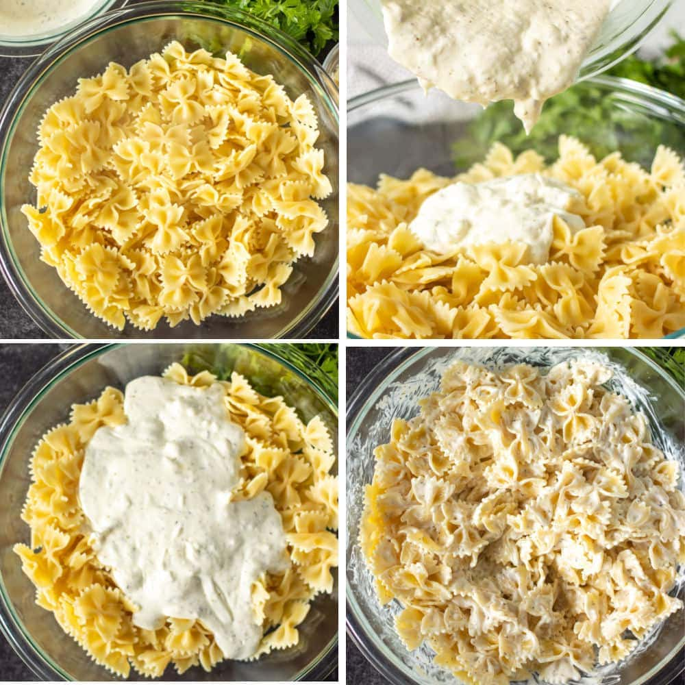 collage of bowtie pasta with cheese sauce