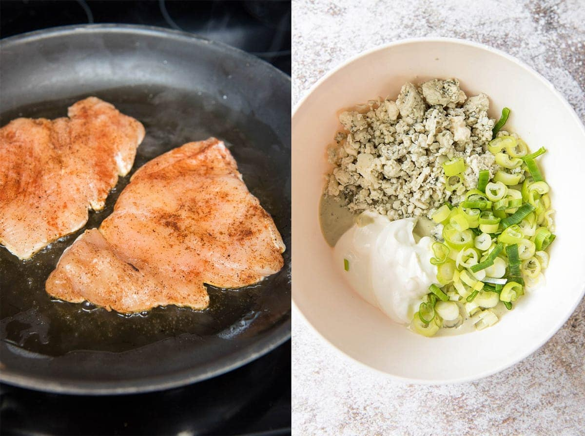 chicken breasts cocking in a black skillet, a white bowl with blue cheese, sour cream, ranch and green onions