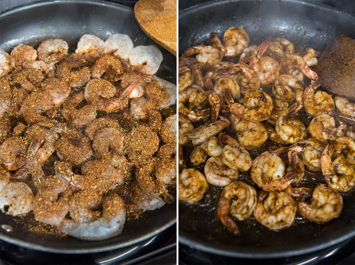 2 images of cooking shrimp