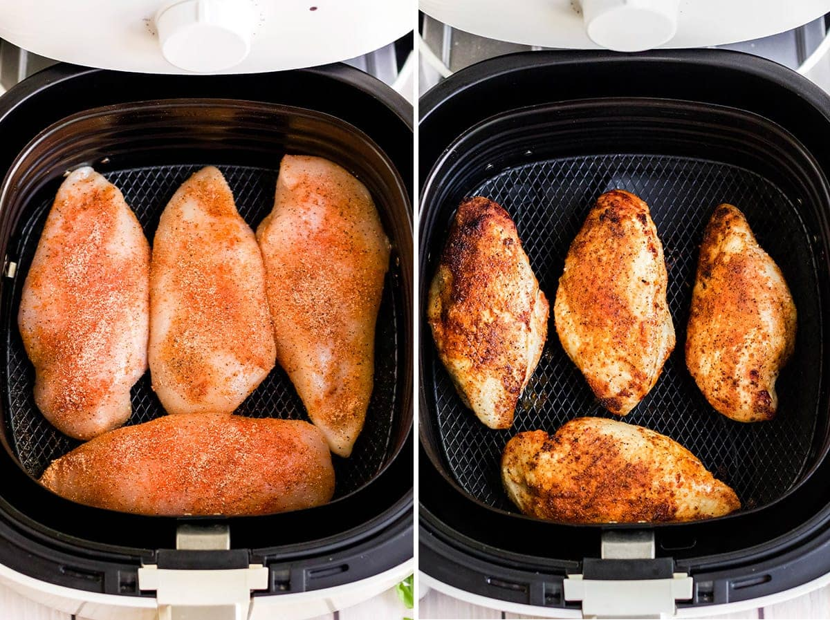 2 image collage of chicken in an air fryer