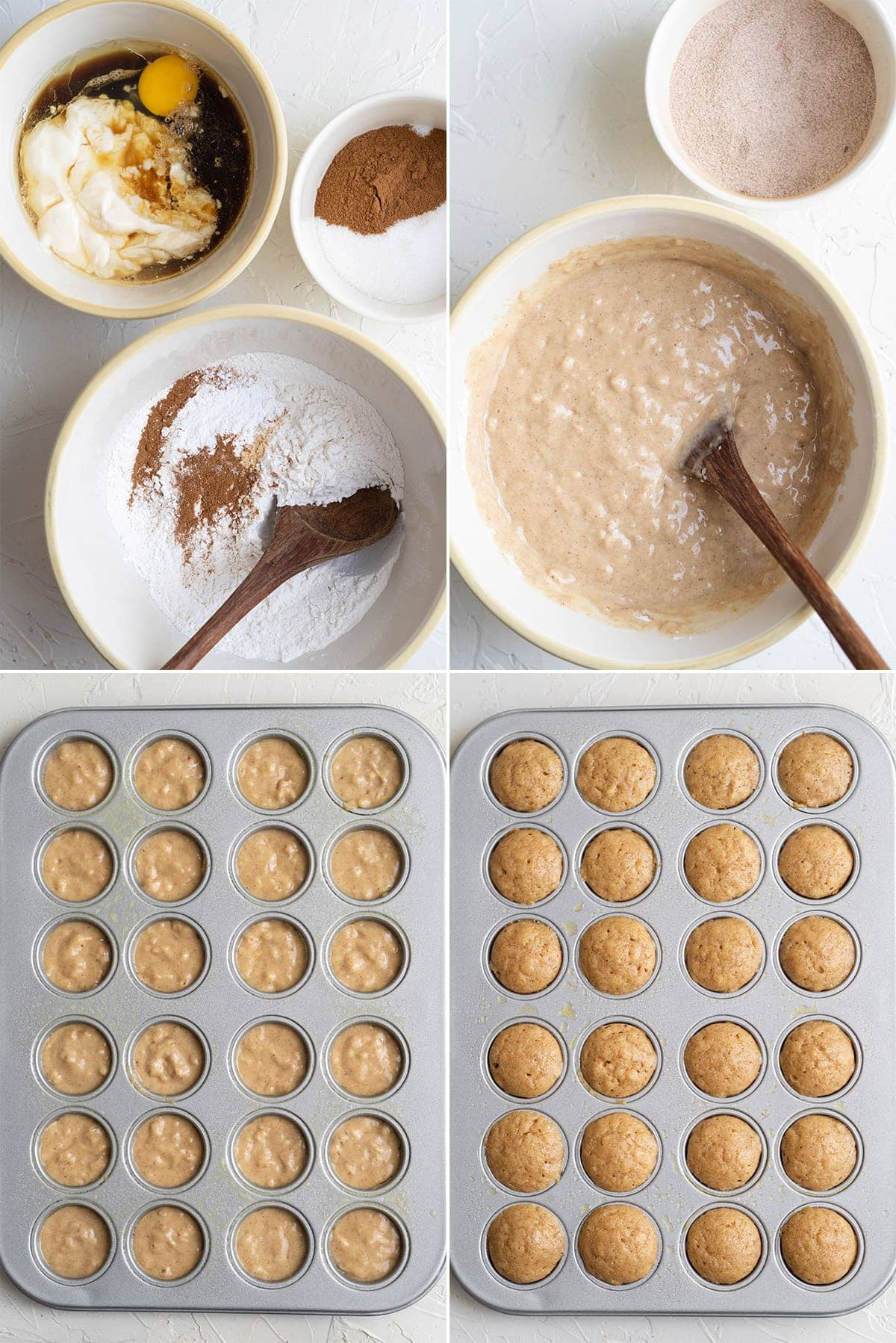a collage of 4 images showing the steps for making apple cider donuts