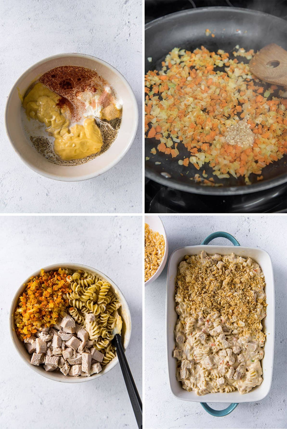 4 image collage showing how to make a chicken casserole