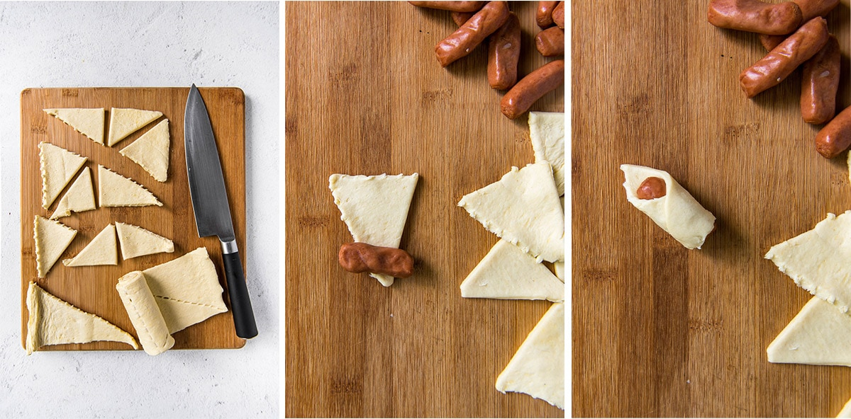 collage of 3 images showing how to make pigs in a blanket