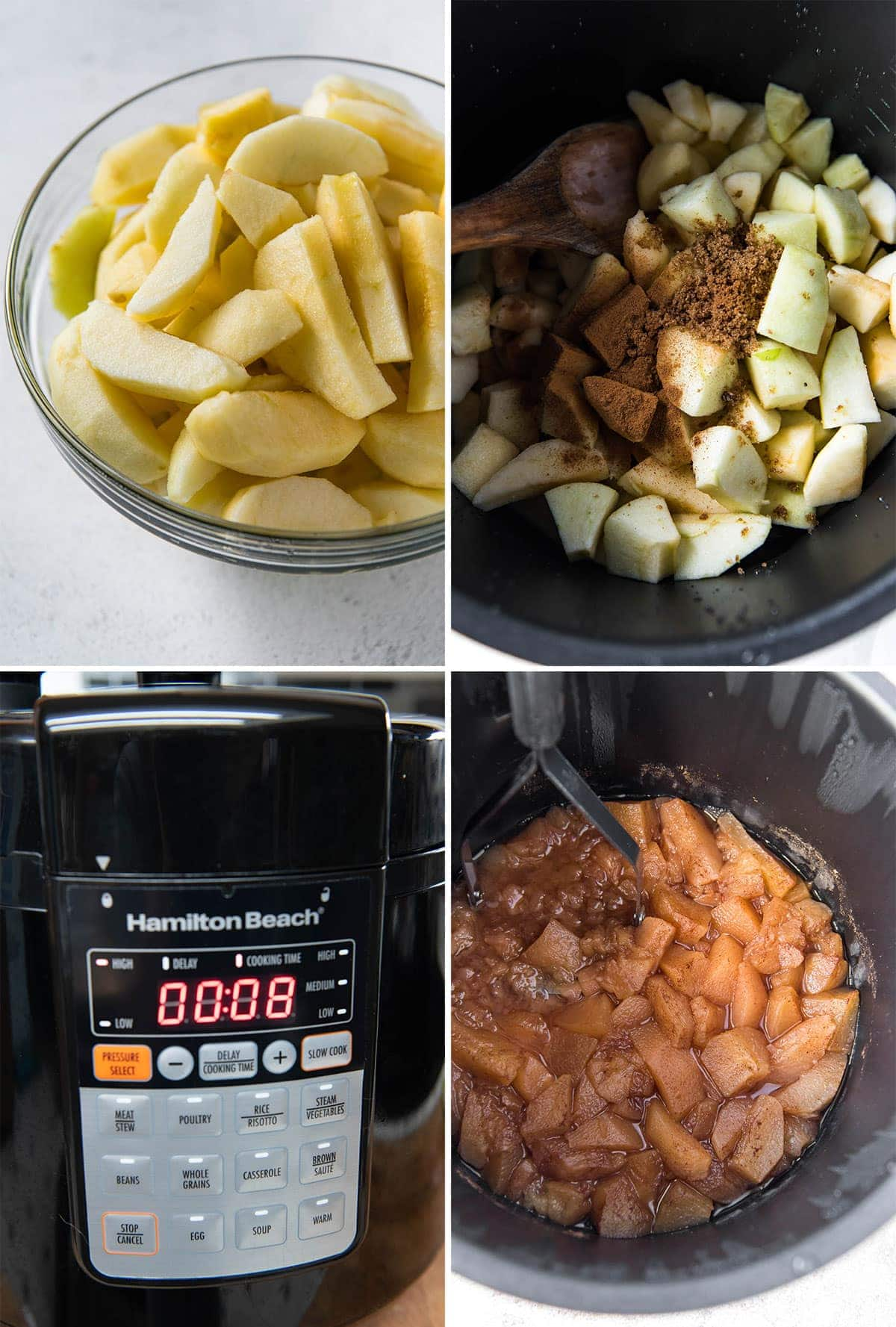 collage of 4 images showing the steps for making instant pot applesauce