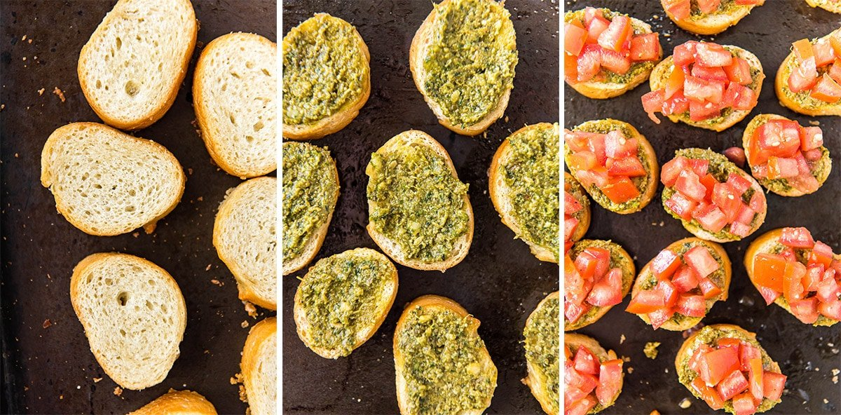 collage of three images showing bread, then bread with pesto, then bread with pesto and diced tomatoes