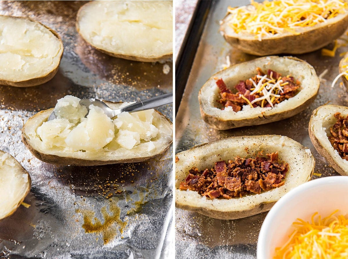 2 image collage showing scooped out potatoes and hollow potatoes with bacon and cheese