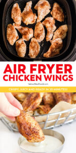 air fryer chicken wings pinnable image with text