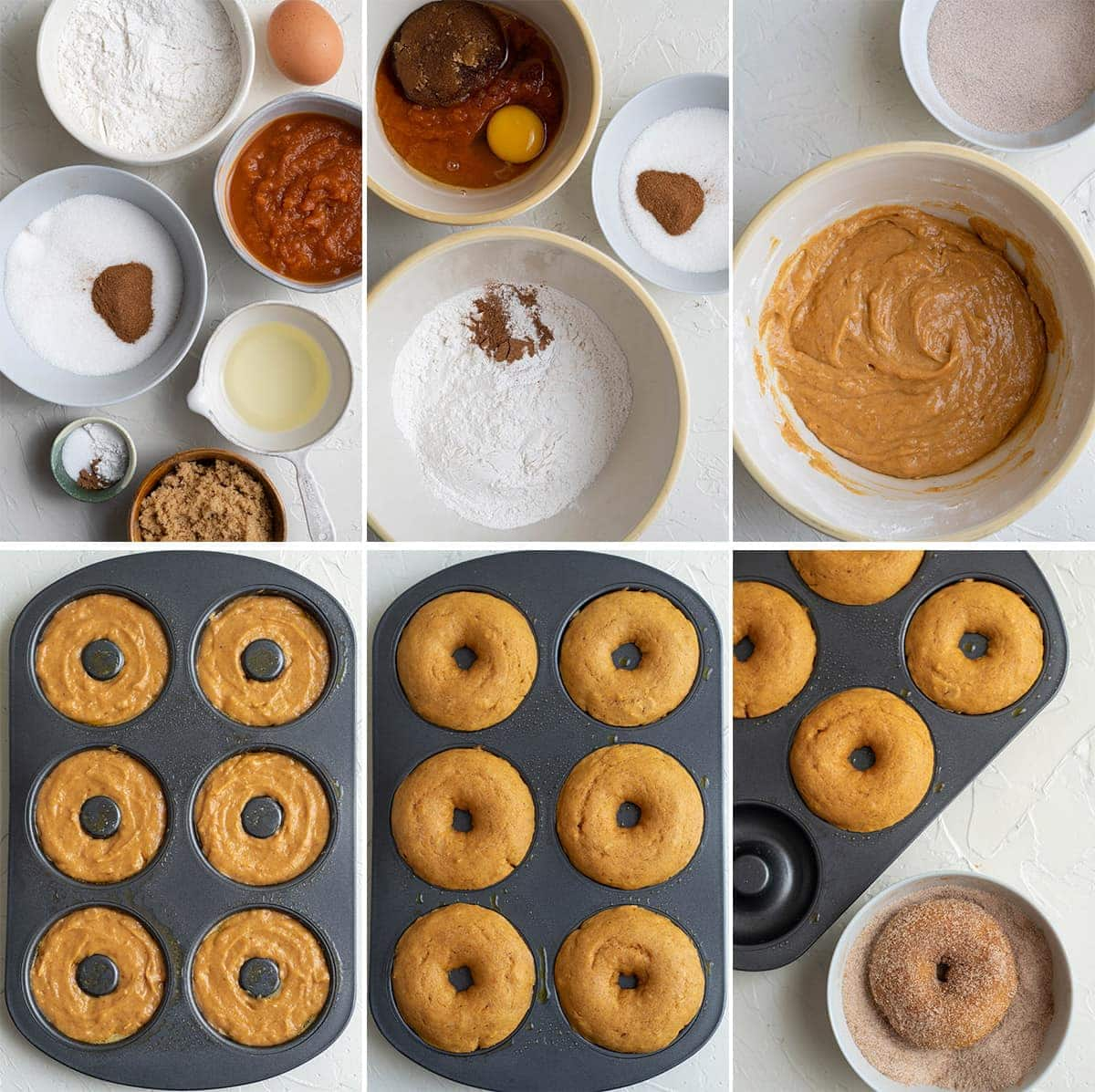 collage of images showing the process of making pumpkin donuts