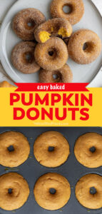 pumpkin donuts pinnable image with text