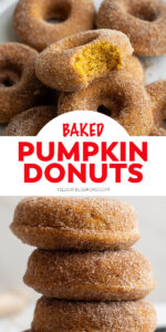 Baked Pumpkin Donuts are perfect the perfect fall treat! They are full of pumpkin spiced flavor, with a delicate cinnamon sugar coating.