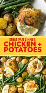 chicken and potatoes recipe pinnable image with text